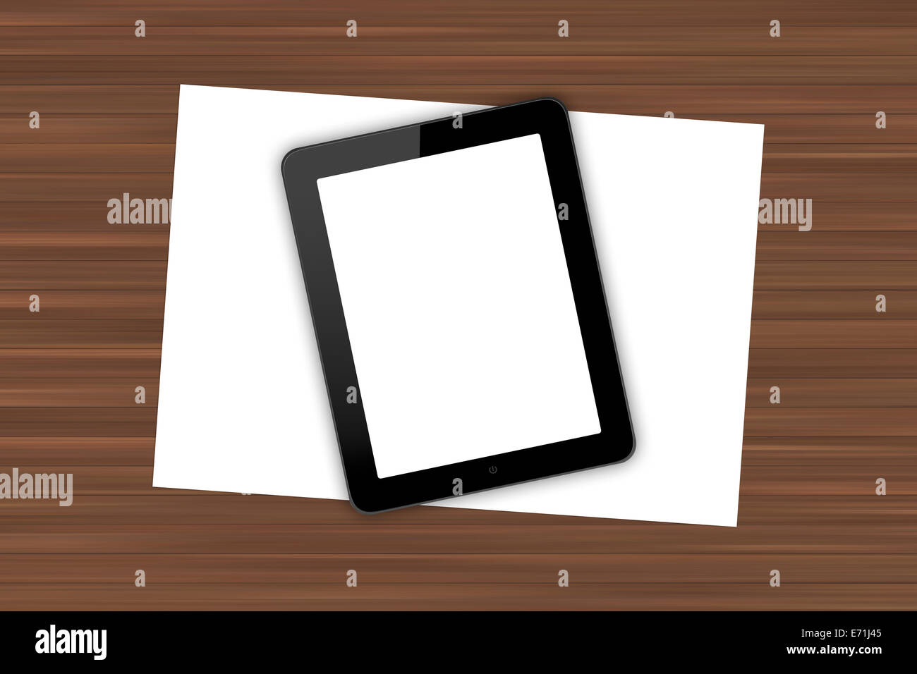 Top view of workplace with blank white screen digital tablet and paper sheet on wooden table. - Stock Image
