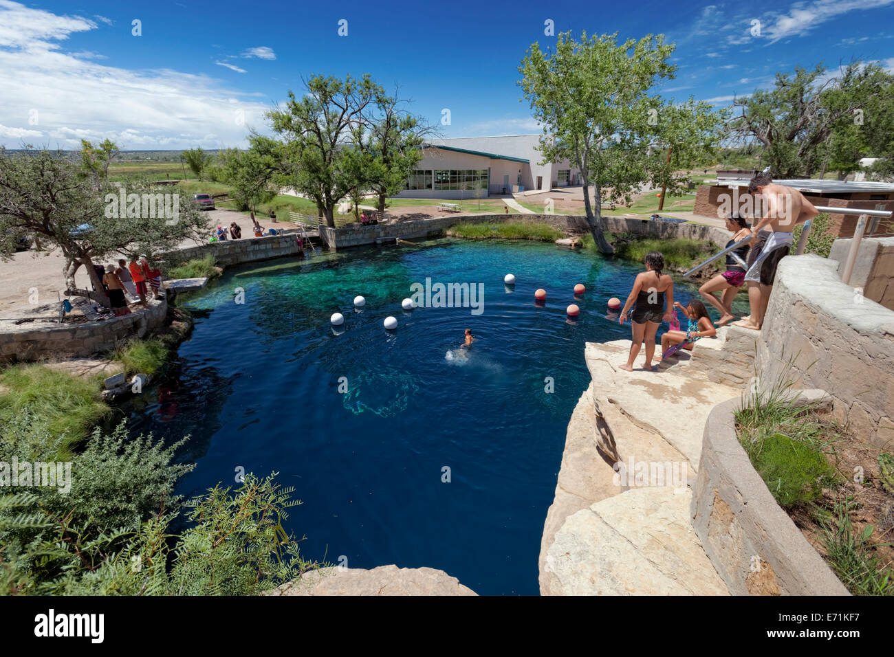 The Blue Hole of Santa Rosa is a circular, bell shaped pool east of Santa Rosa, New Mexico and is popular scuba - Stock Image