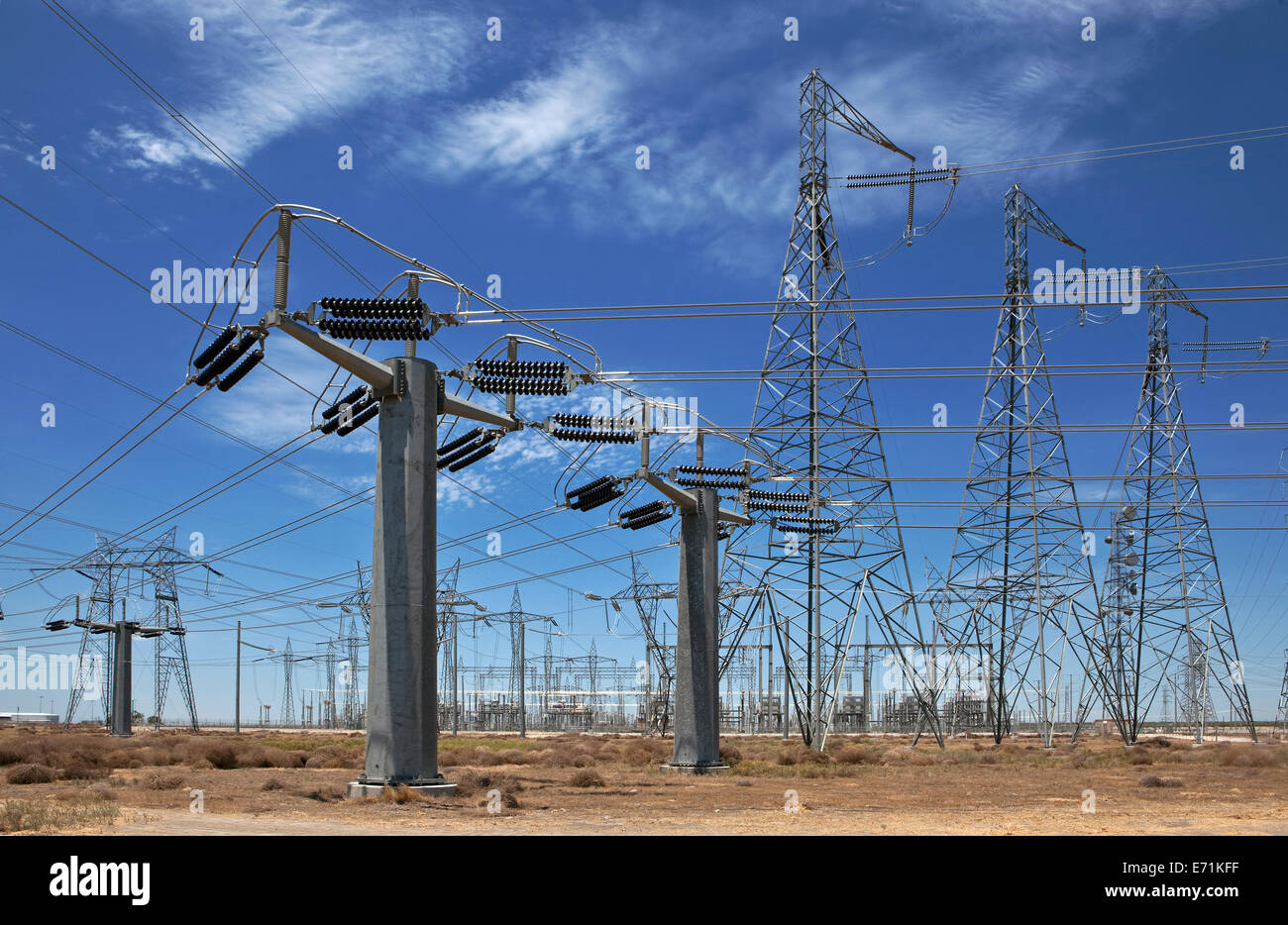A substation is a part of an electrical generation, transmission, and distribution system. - Stock Image
