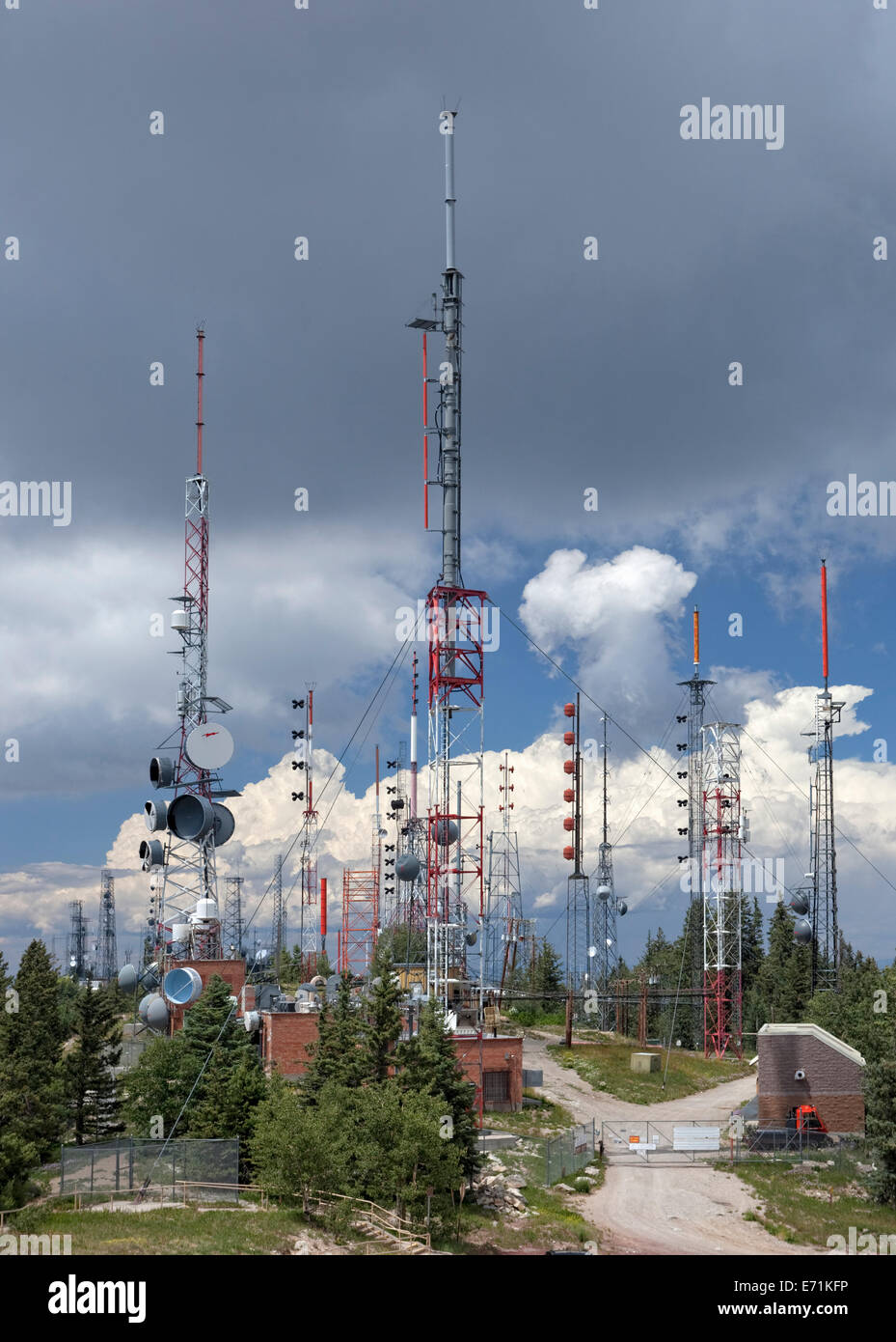 Communication Towers and Antennas on Sandia Crest, Albuquerque, NM - Stock Image
