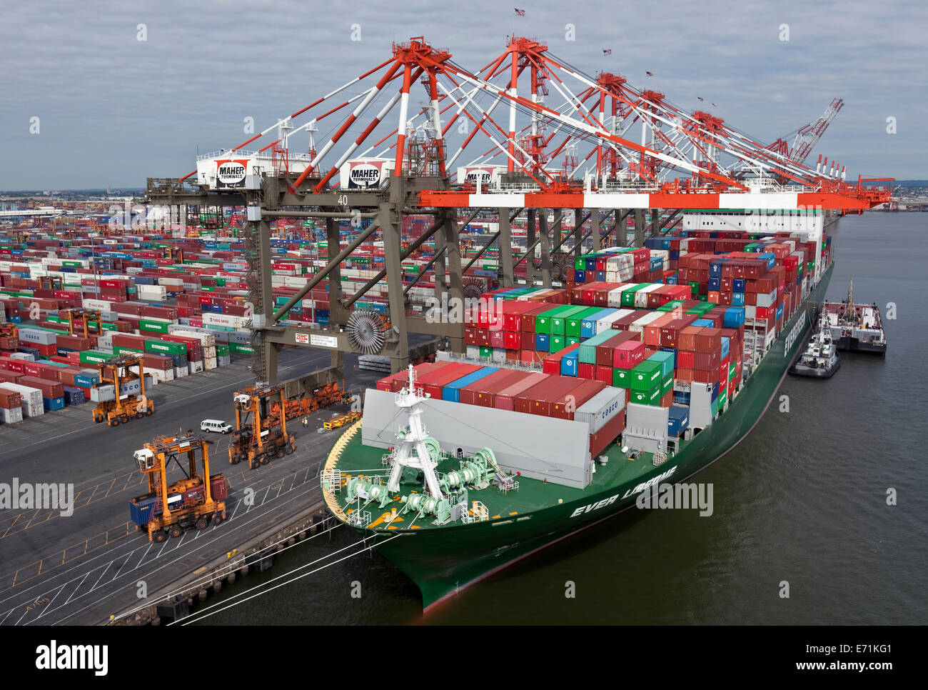 Super Post-Panamax Container Ship; the Ever Lissome - Stock Image