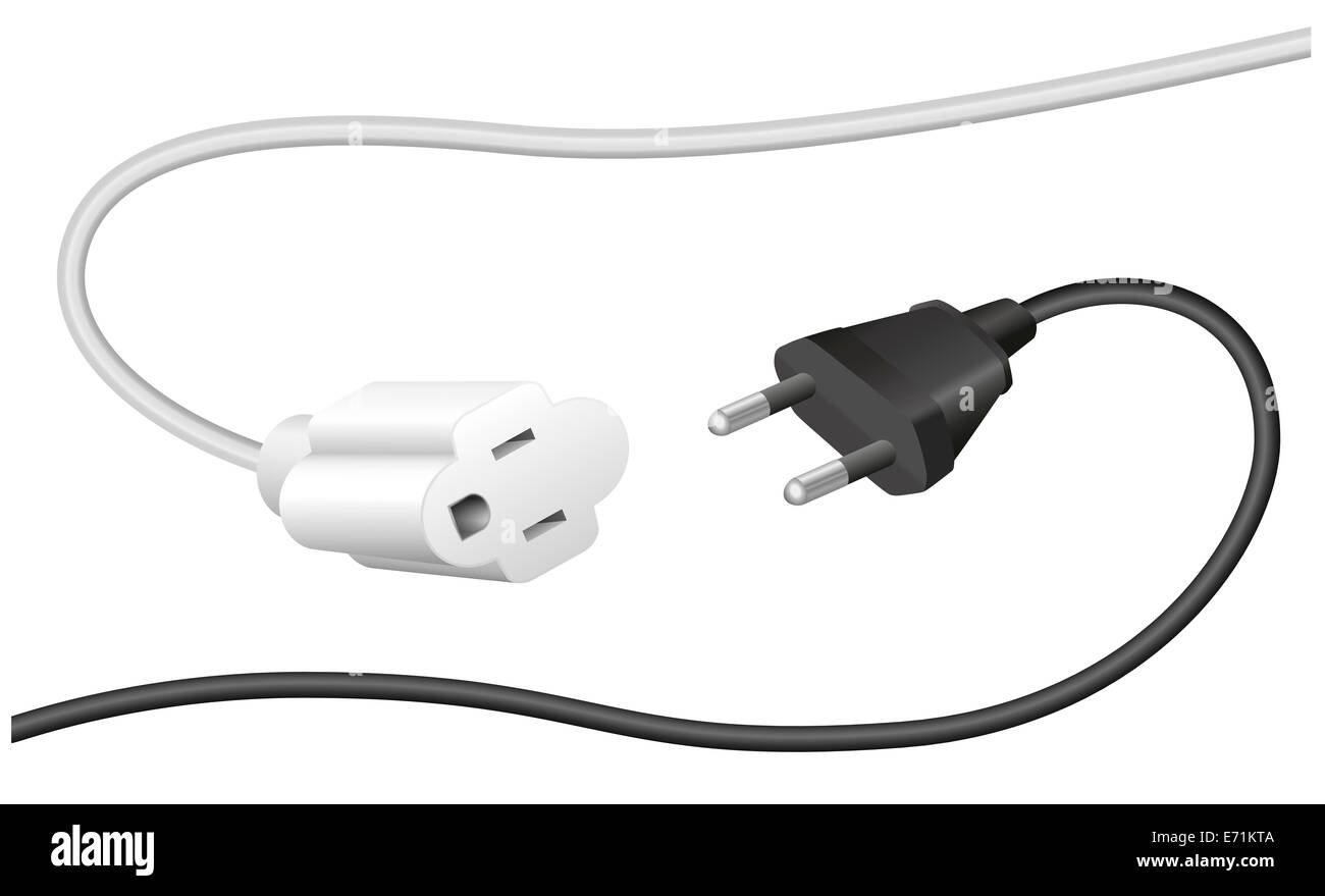 Improper plug and extension cable, that are not compatible. - Stock Image