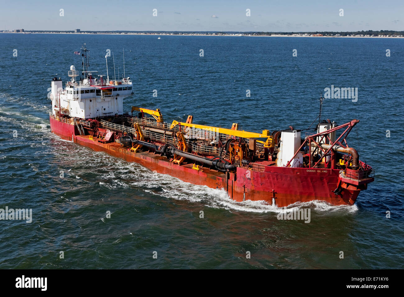 Marine Dredging Barge - NJ Coast - Stock Image