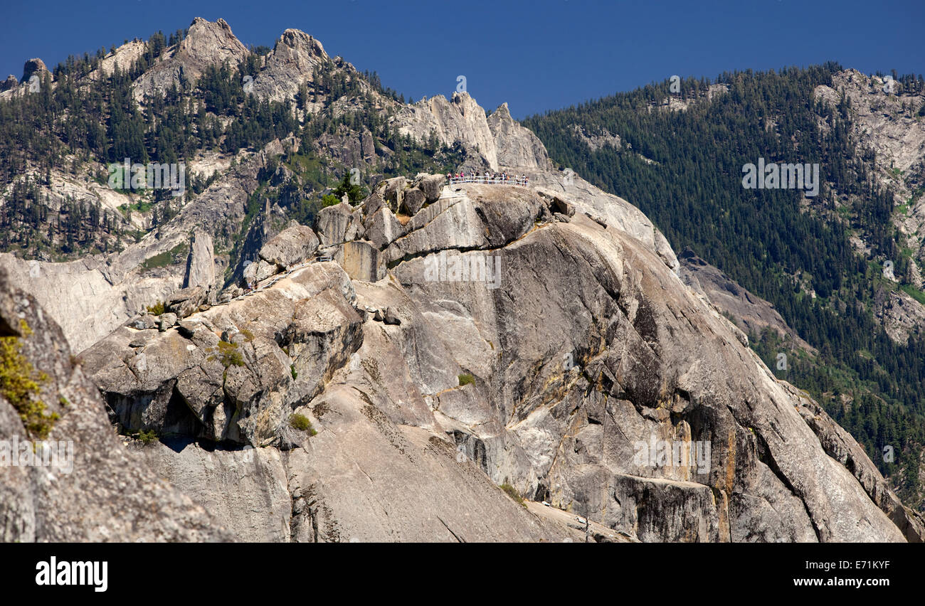 Moro Rock is a granite dome rock formation in Sequoia National Park, California. - Stock Image