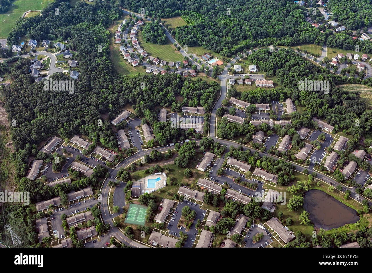 Aerial View of New Jersey Housing Tracts, Monmouth County - Stock Image