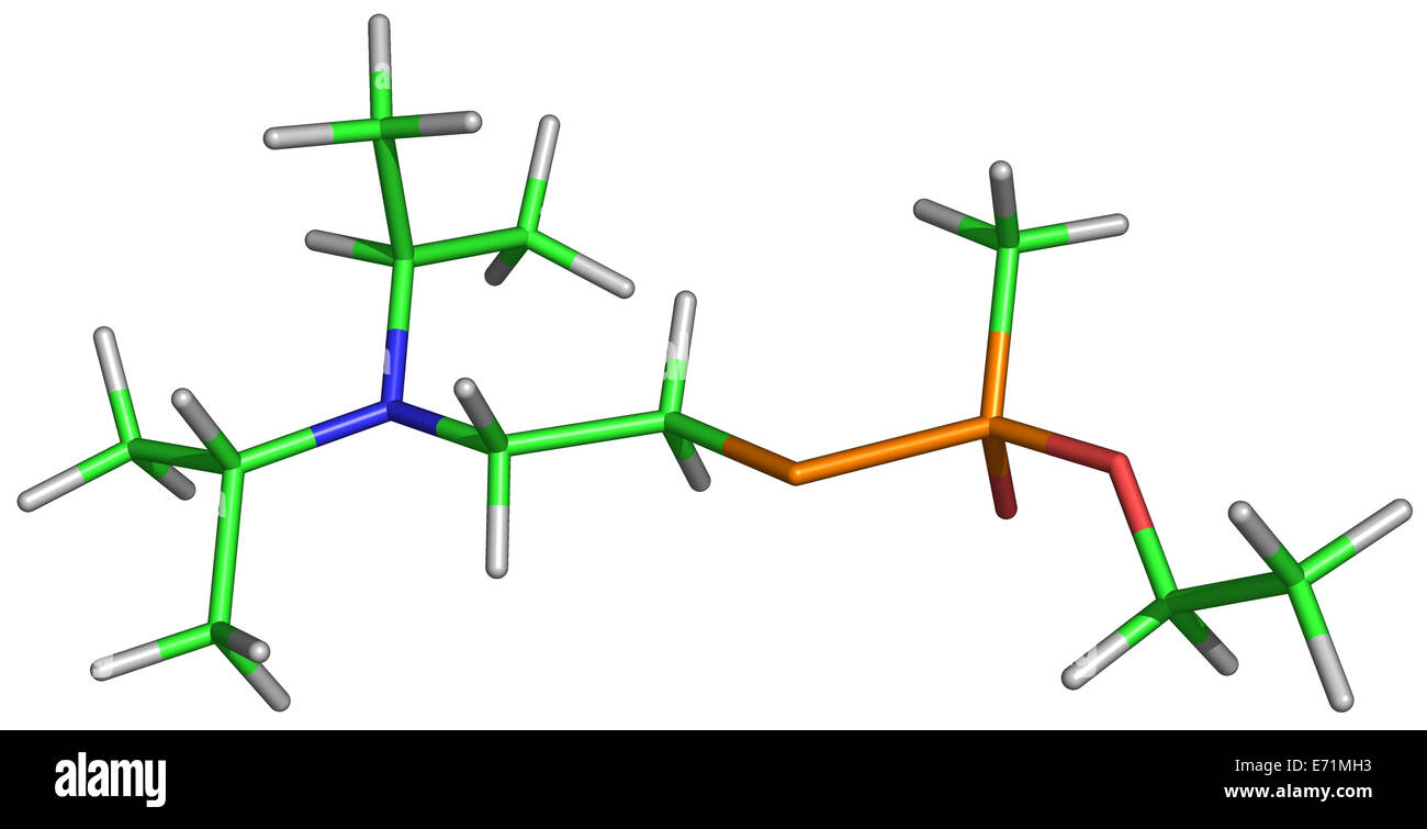 VX, IUPAC name O-ethyl S-[2-(diisopropylamino)ethyl] methylphosphonothioate, is an extremely toxic substance that - Stock Image