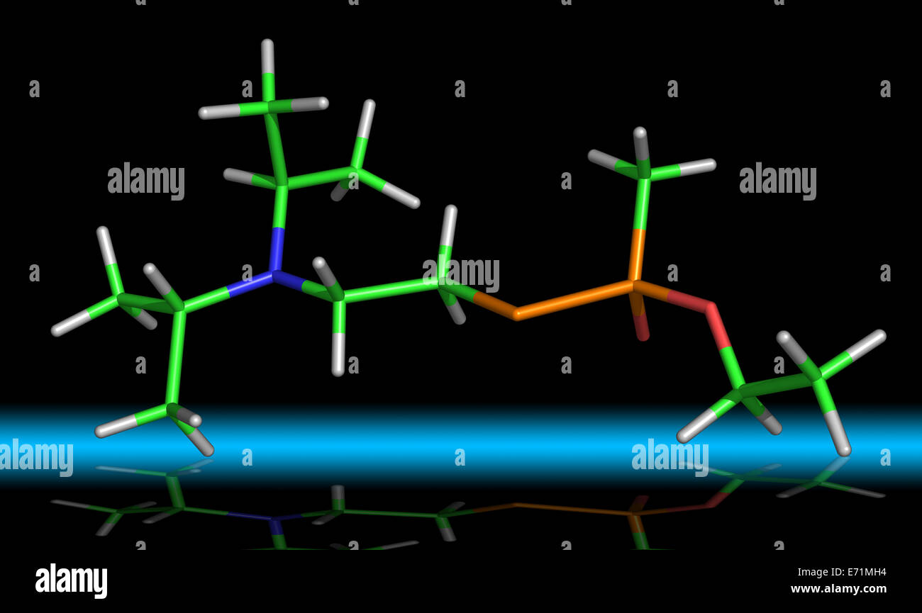 VX Nerve Agent or O-ethyl S-[2-(diisopropylamino)ethyl] methylphosphonothioate - Stock Image