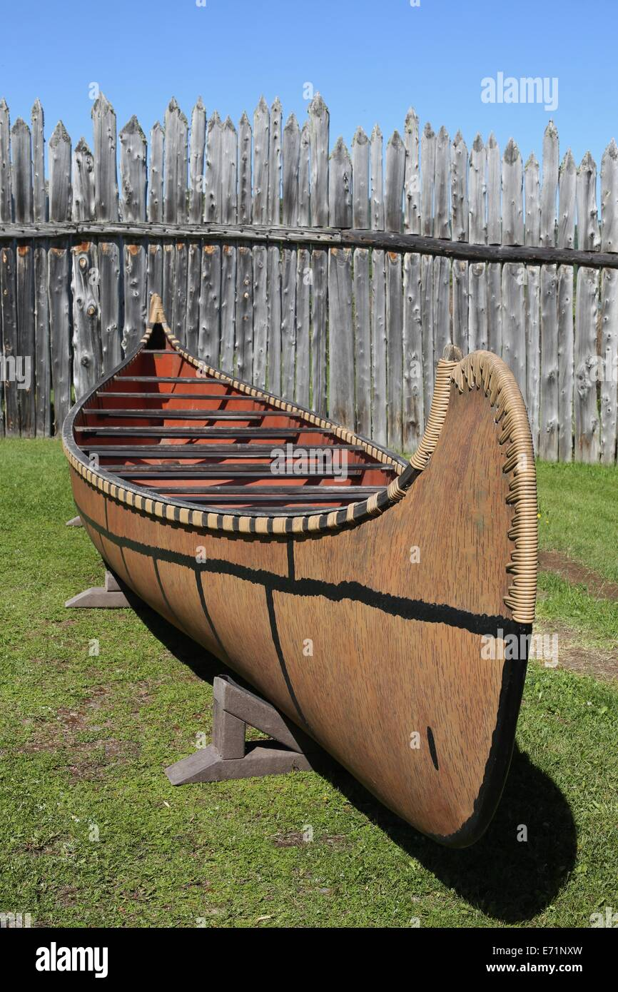 A canoe at the Heritage Center at Grand Portage National Monument in Minnesota. - Stock Image