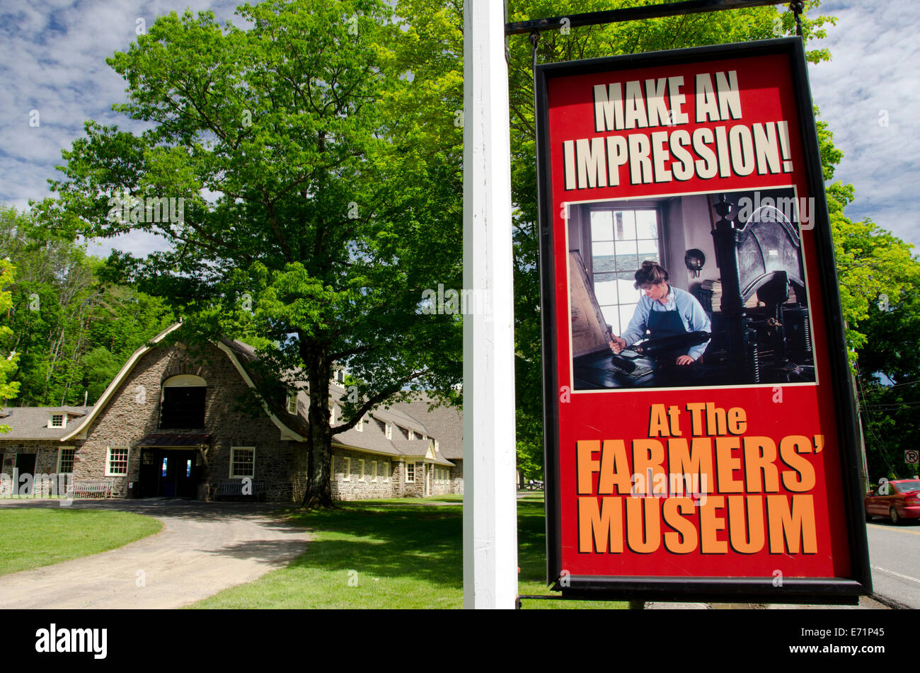 USA, New York, Cooperstown, Farmers' Museum. Open-air museum. The Creamery, original Fenimore Farm Building. - Stock Image