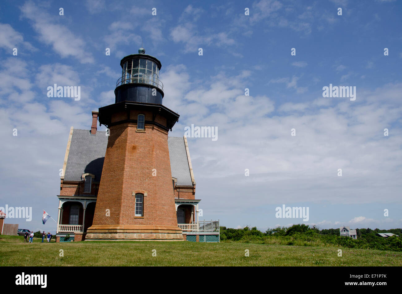 USA, Rhode Island, Block Island, Mohegan Bluffs, Southeast Lighthouse. National Historic Landmark, c. 1887. - Stock Image