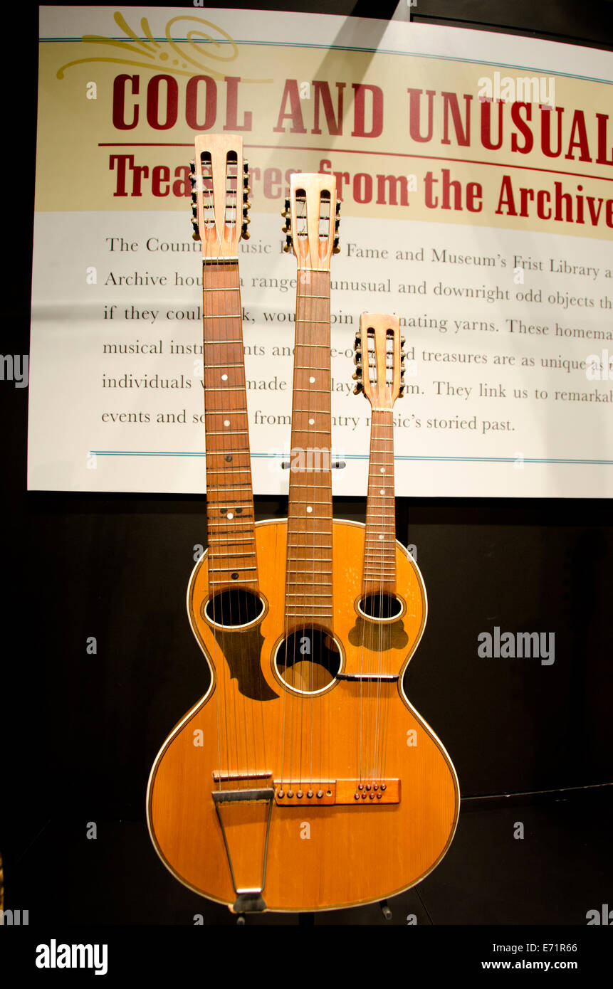 USA, Tennessee, Nashville. Country Music Hall of Fame. Unusual three-necked guitar. - Stock Image