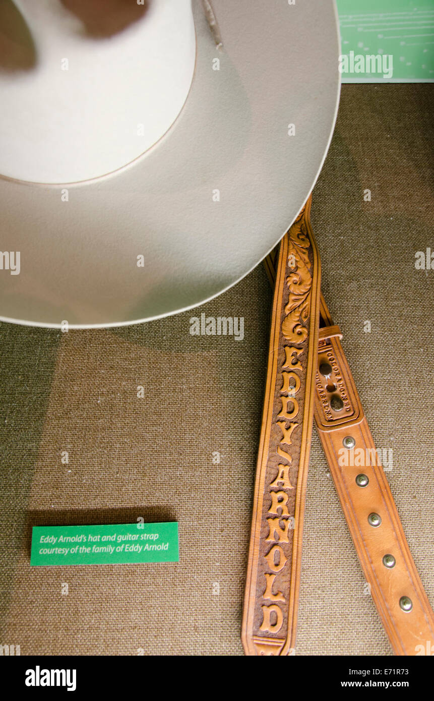 USA, Tennessee, Nashville. Ryman Auditorium, first home of the Grand Old Opry. Eddy Arnold hat and tooled leather - Stock Image