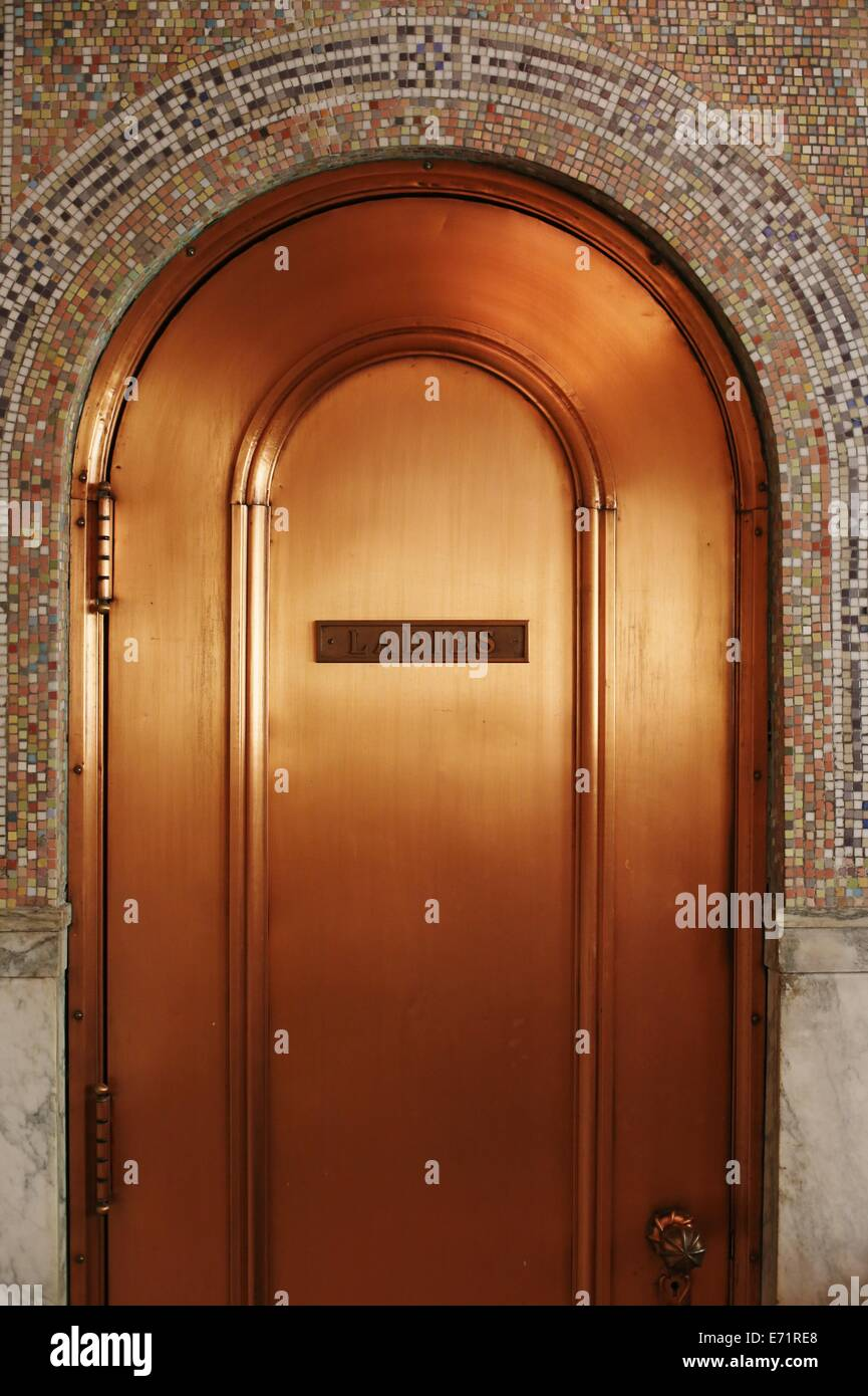 A copper door on a ladies restroom at Memorial Chapel at Lakewood Cemetery in Minneapolis. & Restroom Door Sign Stock Photos u0026 Restroom Door Sign Stock Images ...