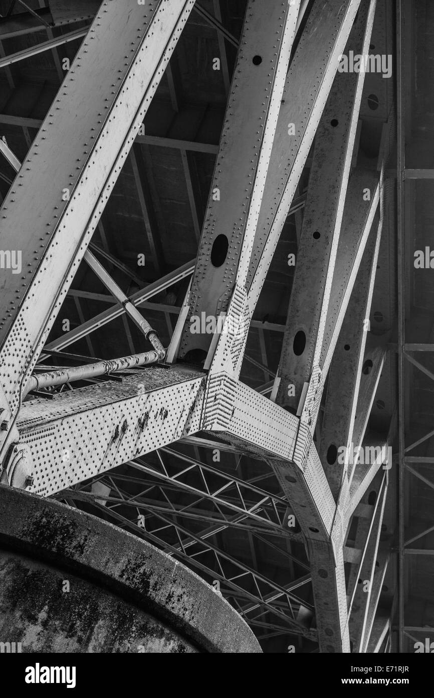 Abstract view of the underside of the Granville Street Bridge in Vancouver, Canada - Stock Image