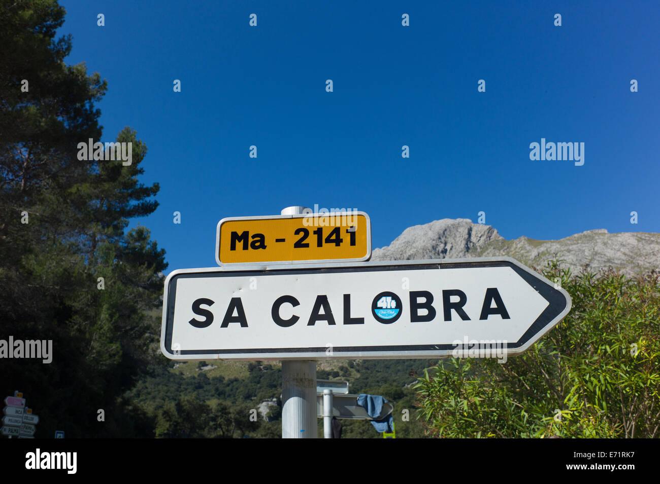 sign post at Sa Calobra, Mallorca - Stock Image