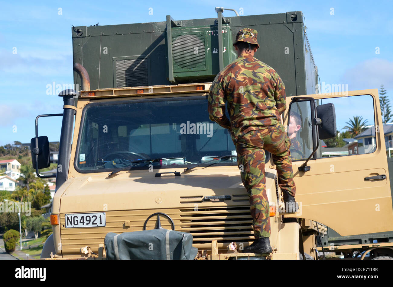CABLE BAY, NZL - SEP 03 2014:New Zealand Army soldiers. New Zealand personnel served in the First Gulf War, Iraq - Stock Image
