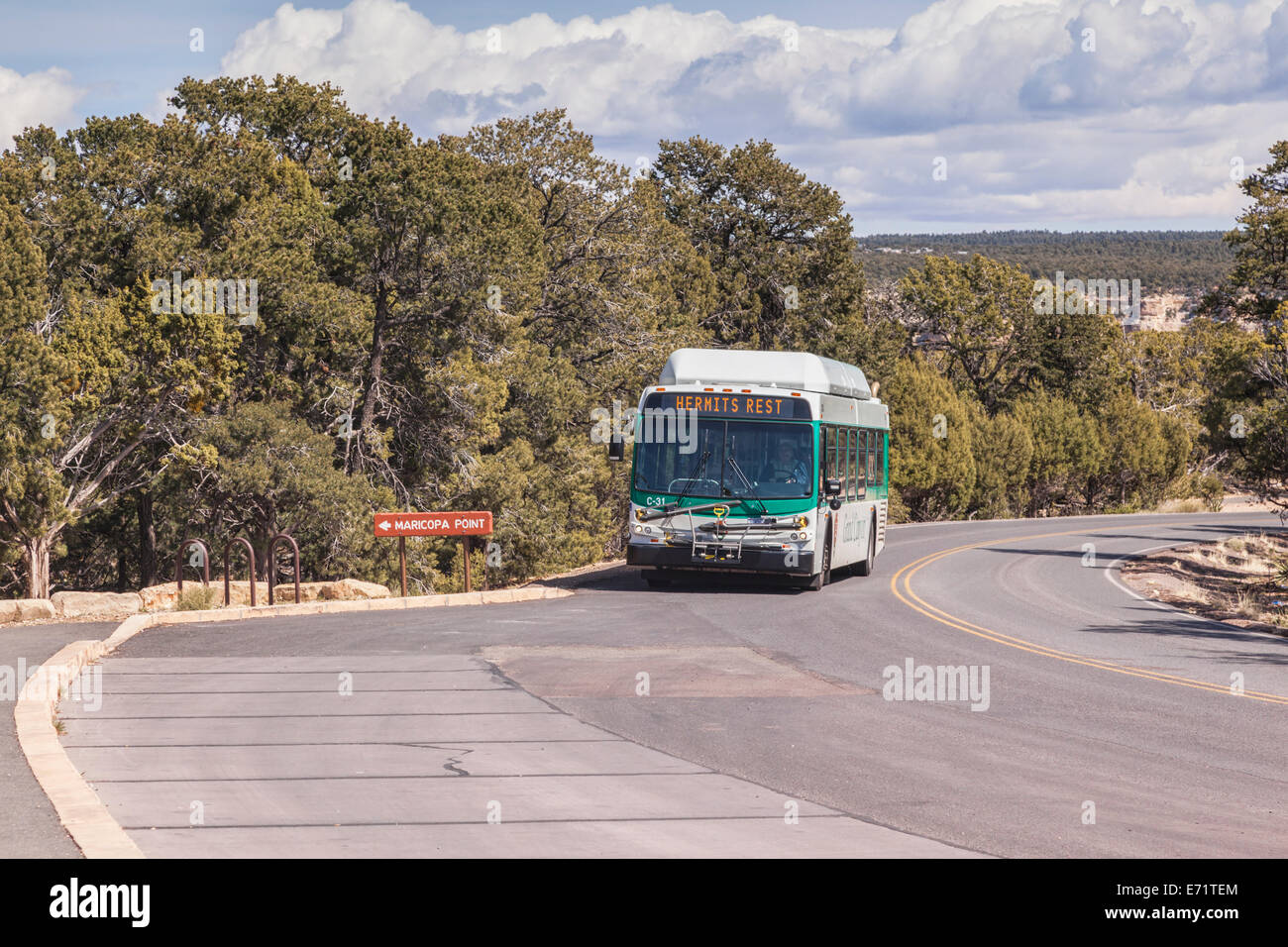 Grand Canyon Shuttle Bus, approaching the stop at Maricopa Point. Powered by natural gas, the shuttles have been - Stock Image