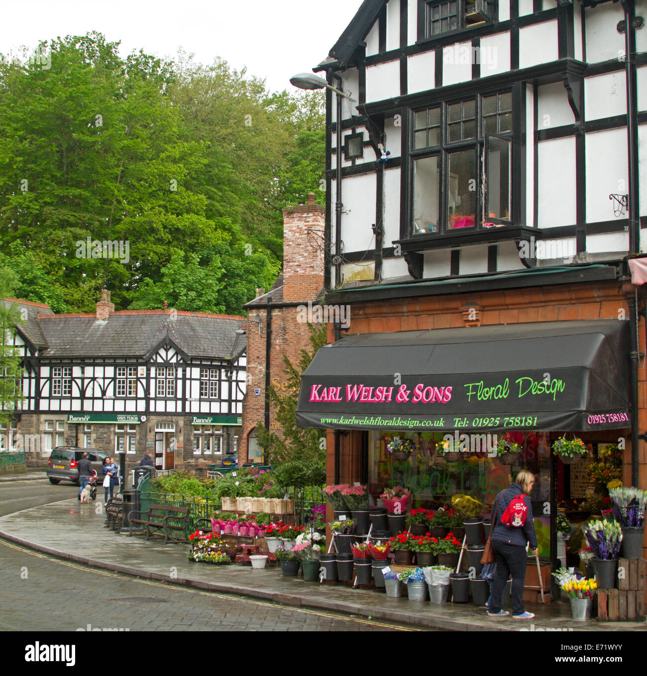 Main street and florist's shop with woman admiring colourful footpath display at picturesque village of Lymm - Stock Image