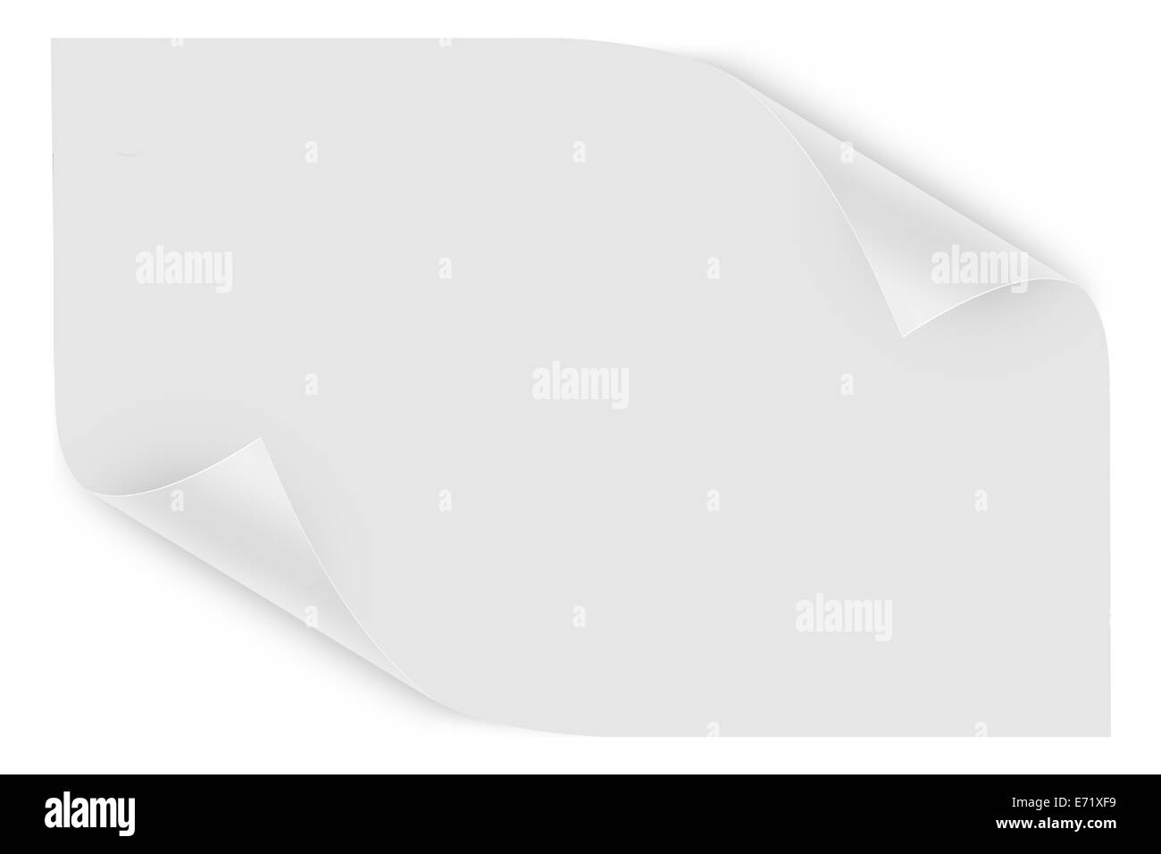 White blank sheet with page curls, isolated on white background. - Stock Image