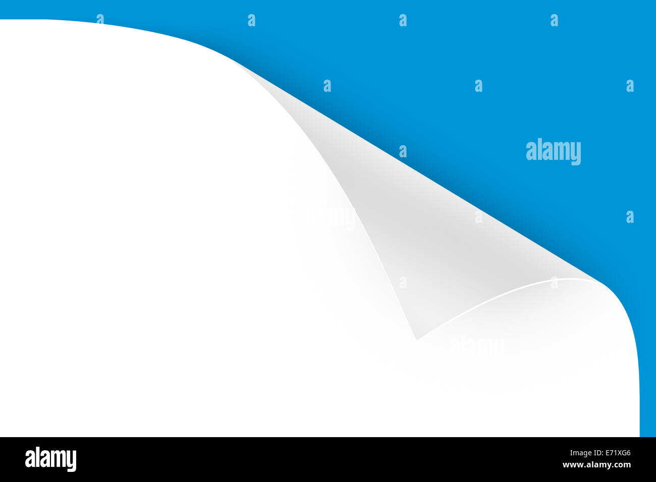 Close up view of realistic page curl of white sheet on blue background. - Stock Image