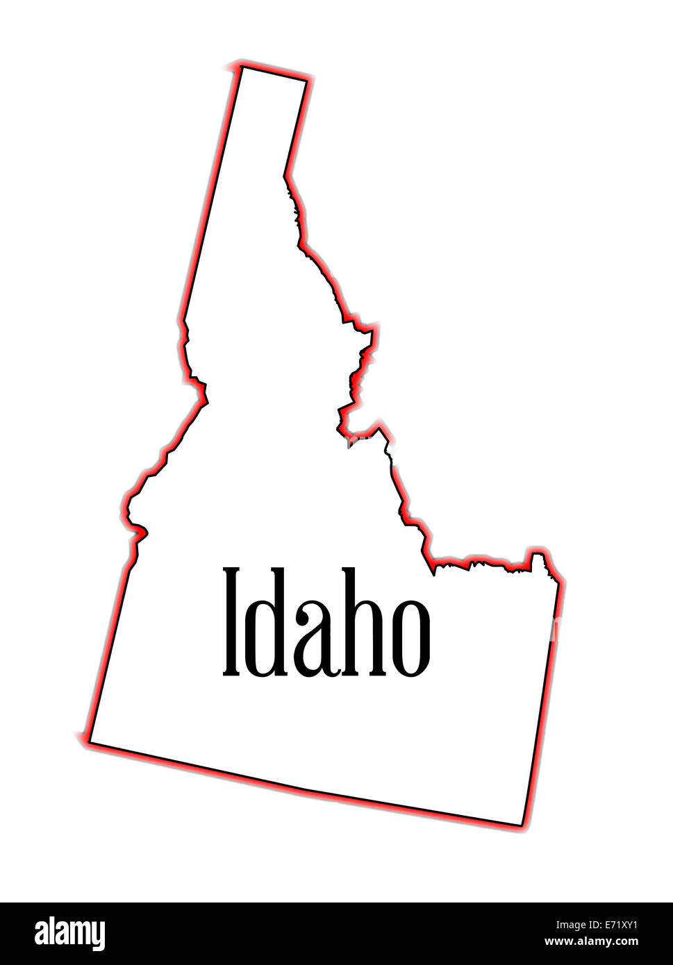 Outline of the state of Idaho isolated - Stock Image