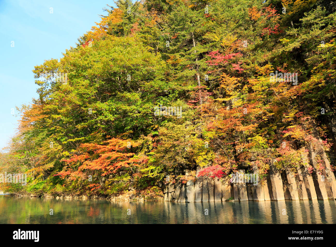The Matsukawa Valley which made autumn leaves - Stock Image