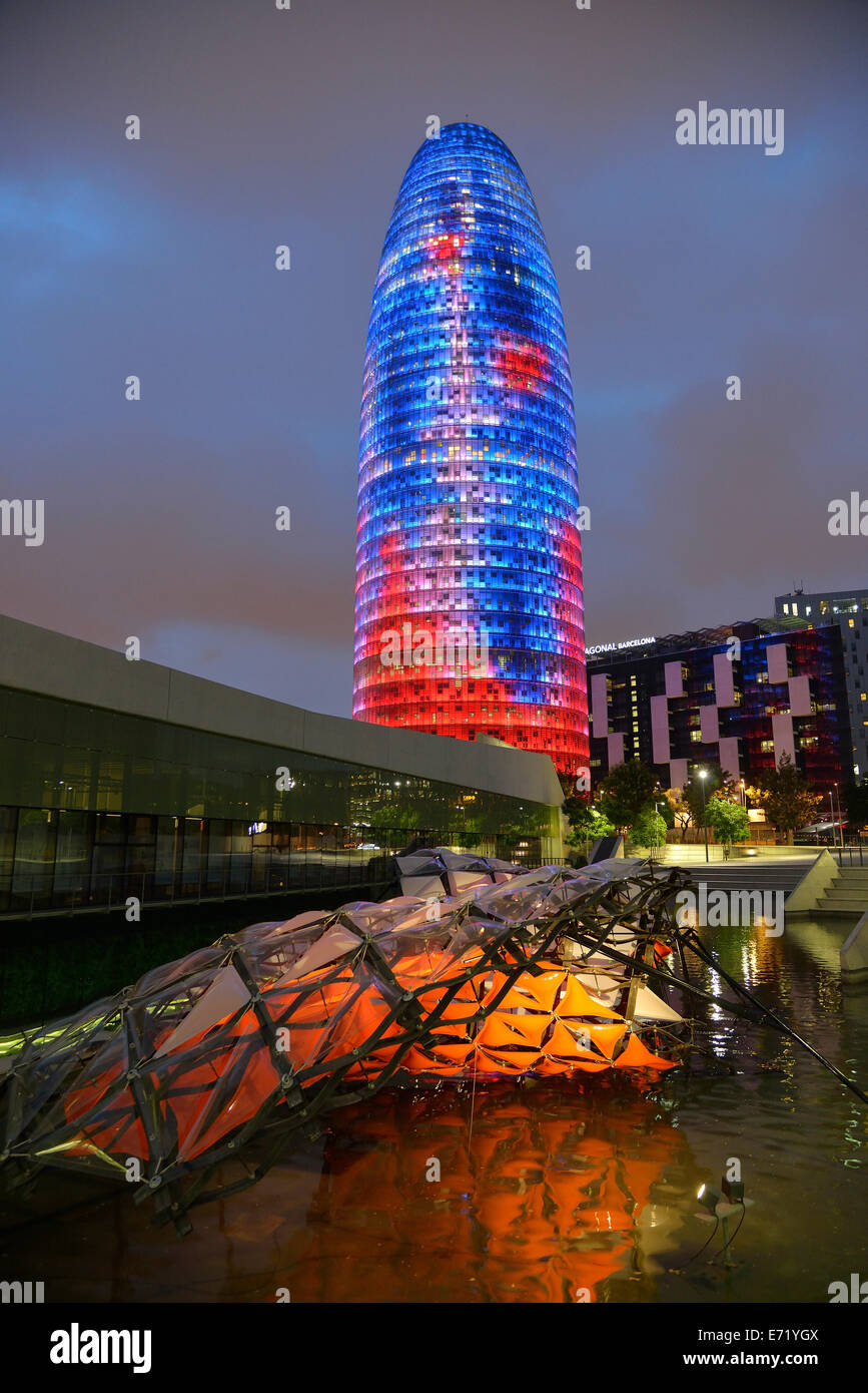 Torre Agbar, architect Jean Nouvel, at dusk, Avinguda Diagonal, Barcelona, ​​Catalonia, Spain - Stock Image