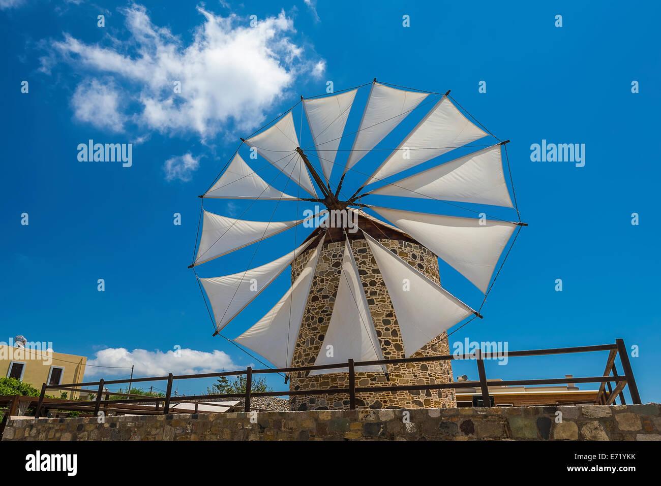 Wind mill in Antimachia village Kos island Greece - Stock Image