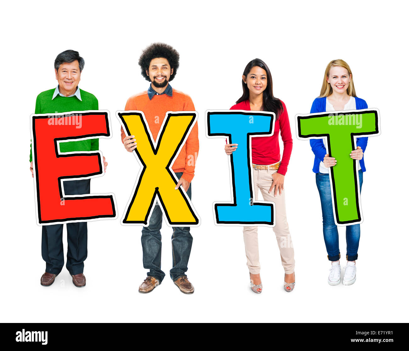 Multiethnic Group of People Holding Letter Exit Stock Photo