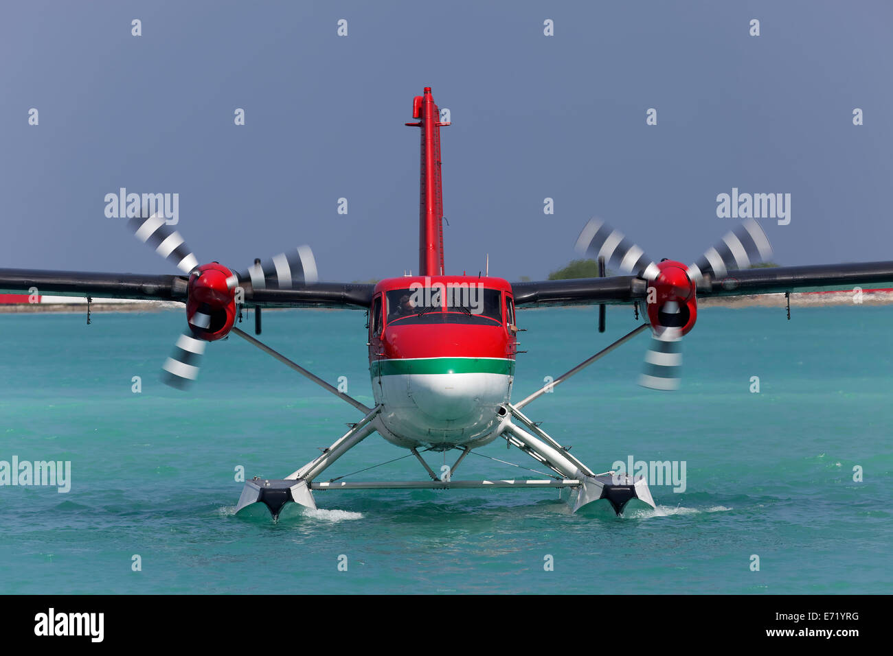 Hydroplane, De Havilland Canada DHC-6 Twin Otter, frontal view, on water, Maldives - Stock Image