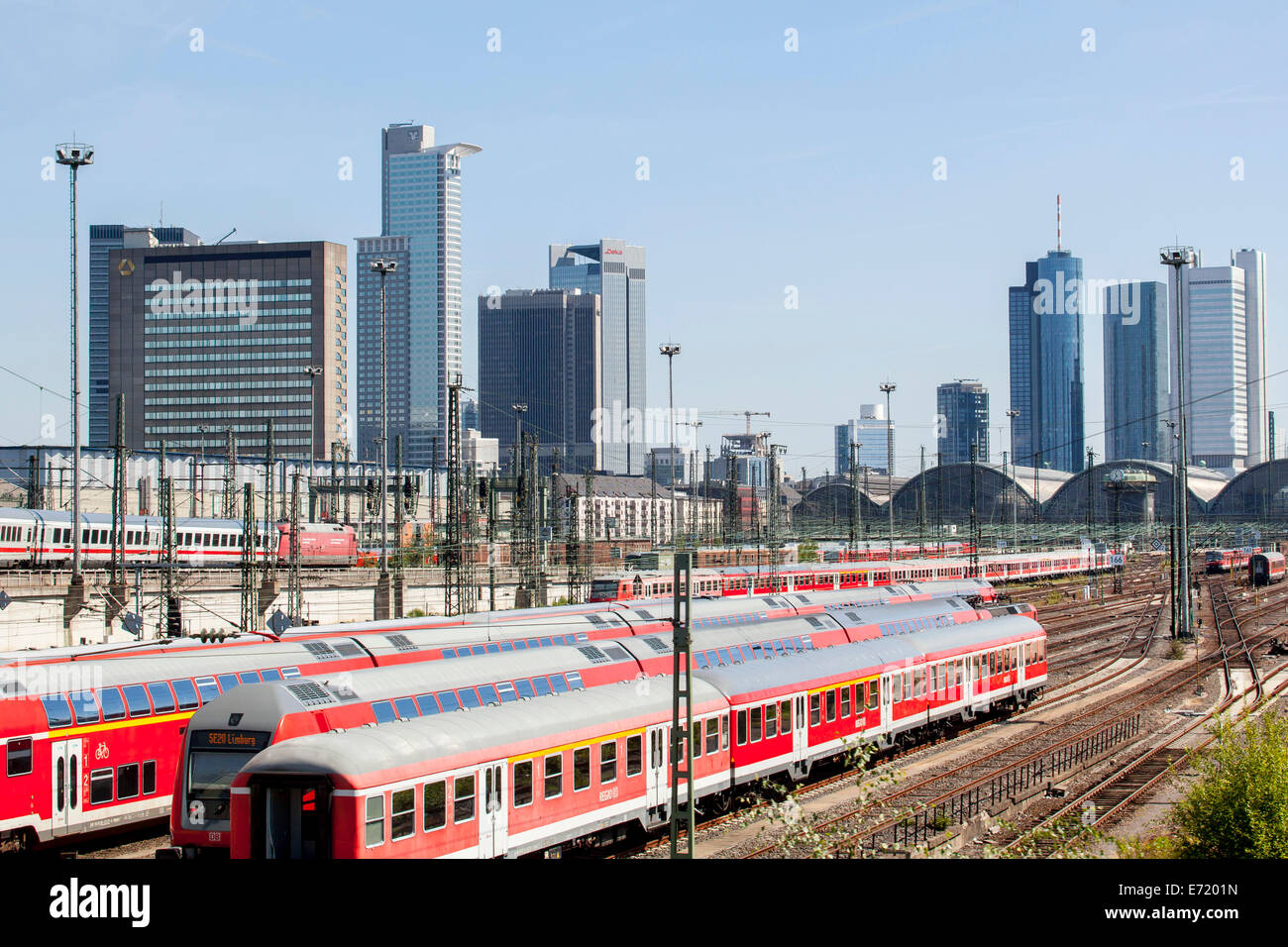 Railway tracks, sidings, of Deutsche Bahn AG at Frankfurt main station, Frankfurt skyline at the back, Frankfurt - Stock Image