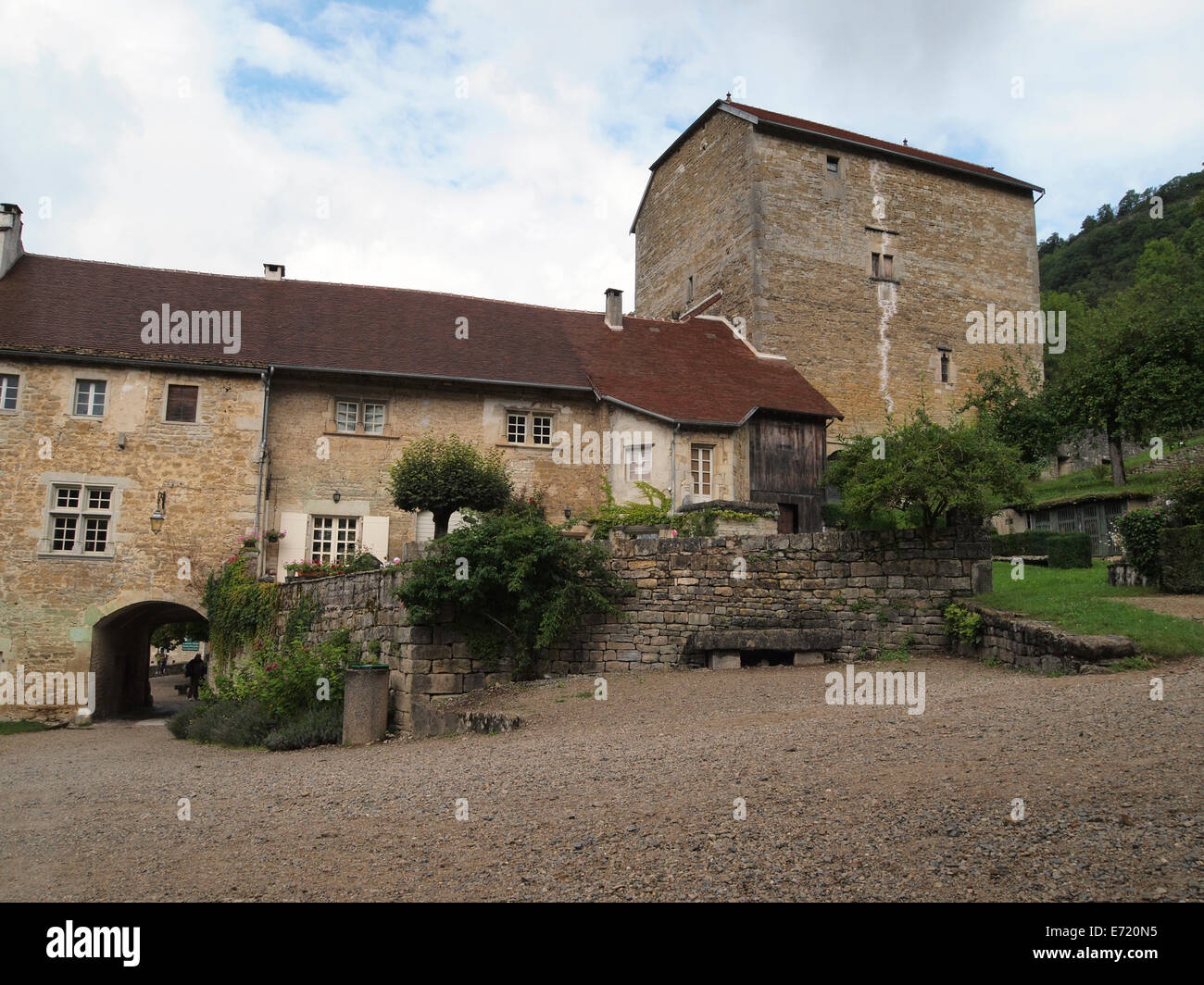 Baume les Messieurs is considered one of the most beautiful villages in France. Jura region - Stock Image