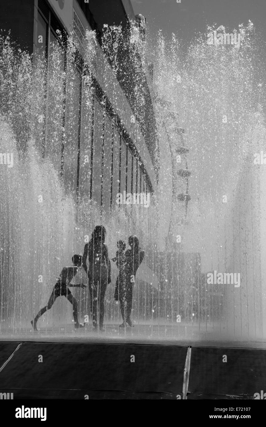 Appearing Rooms fountain by the Royal Festival Hall, South Bank, London, UK - Stock Image