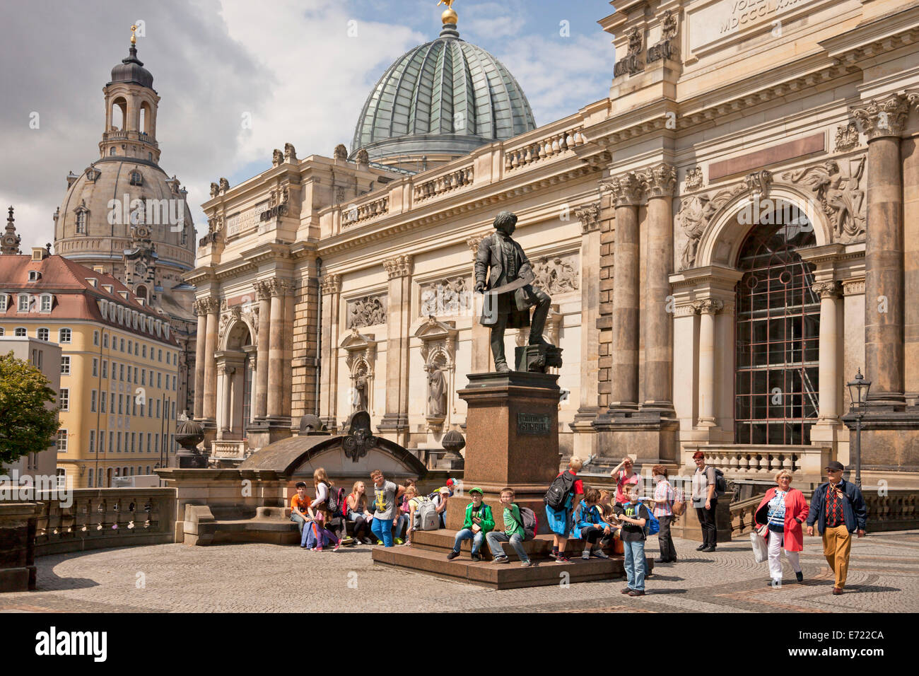 School Children at the Gottfried Semper Monument and the Academy of Fine Arts in Dresden, Saxony, Germany, Europe - Stock Image