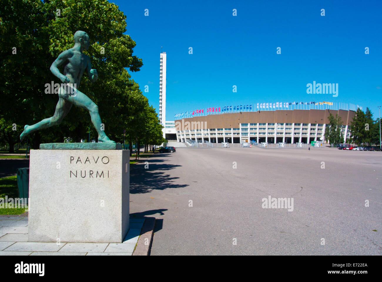 Statue of Paavo Nurmi, the Flying Finn, Olympiastadion, the Olympic Stadium (1952), Taka-Töölö district, - Stock Image