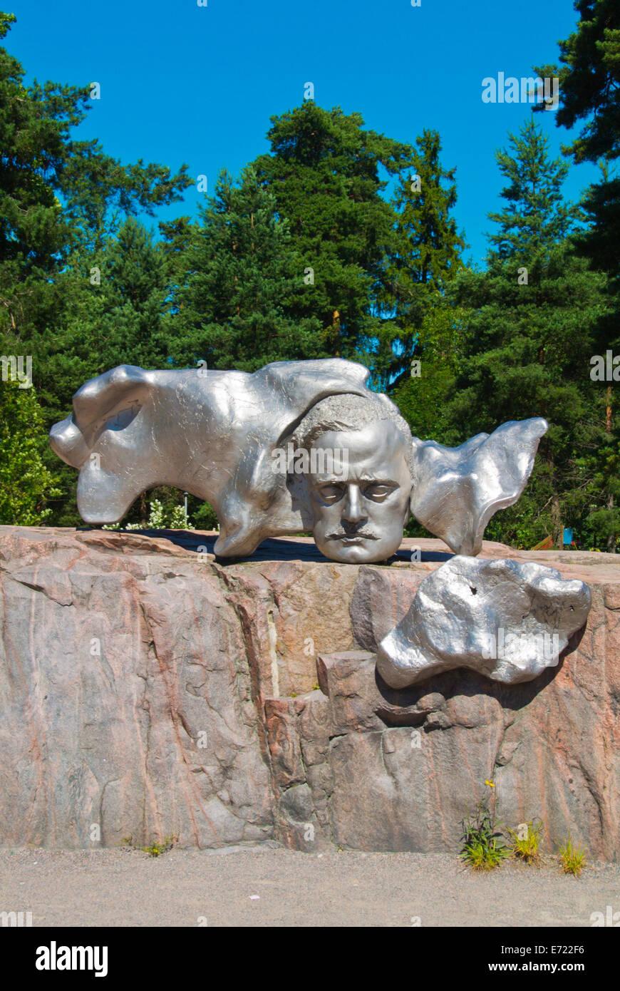 Sibelius relief, part of the Sibelius Monument sculpture,  Sibeliuksen puisto, Sibelius park, Töölö - Stock Image