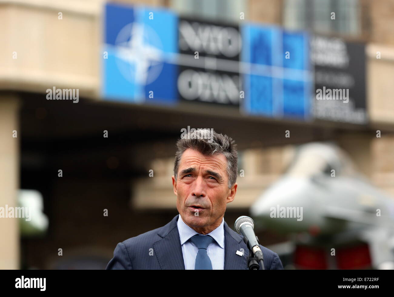 Pictured NATO Secretary-General Anders Fogh Rasmussen addressing members of the press at the Doorstep event. Re NATO Summit at the Celtic Manor Hotel ...  sc 1 st  Alamy & Newport UK. 4th Sep 2014. Pictured: NATO Secretary-General Anders ...