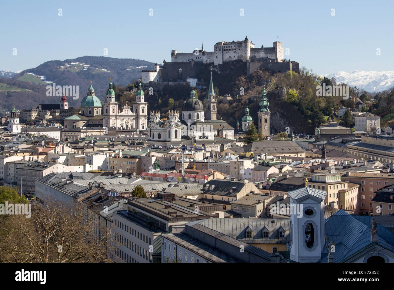 Austria: Historic Centre of the City of Salzburg at the river Salzach. Photo from 30 March 2014. - Stock Image