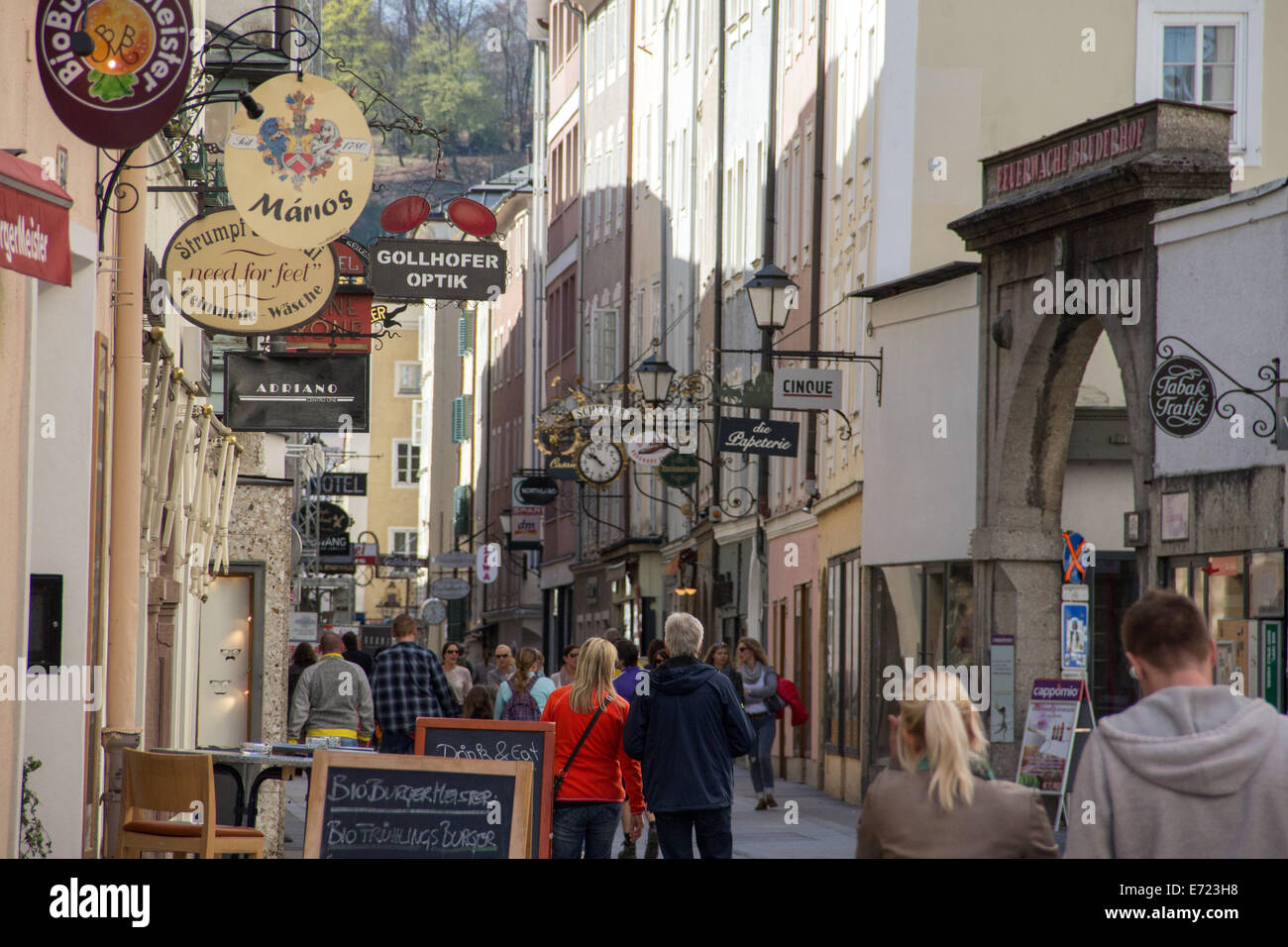 Austria: Getreidegasse, one of the oldest streets at the centre of Salzburg. Photo from 30 March 2014. Stock Photo