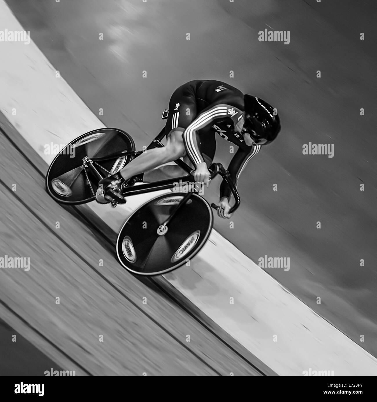 Sir Chris Hoy at speed. Stock Photo