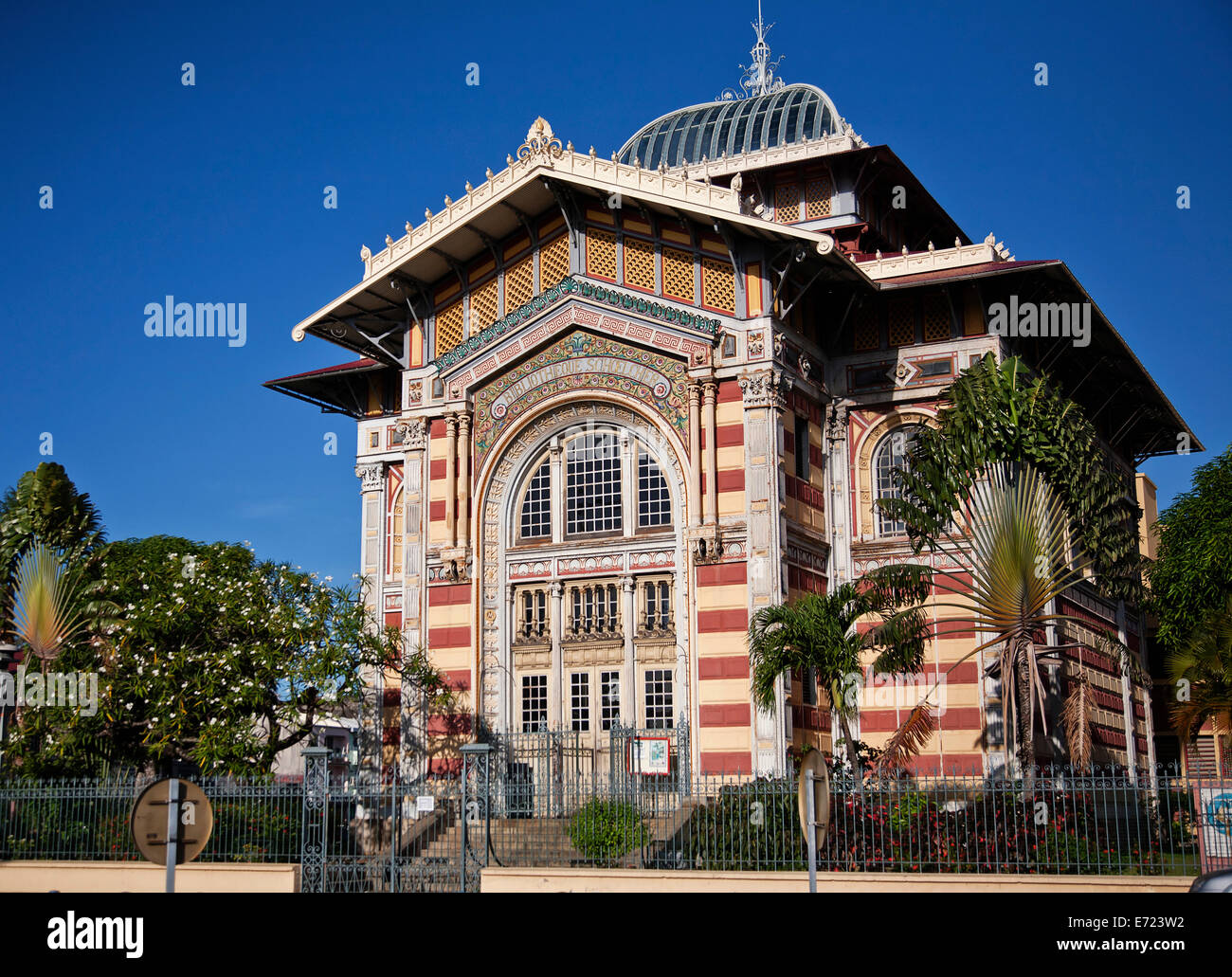 Martinique, Fort-de-France, Bibliotheque Schoelcher exterior. - Stock Image