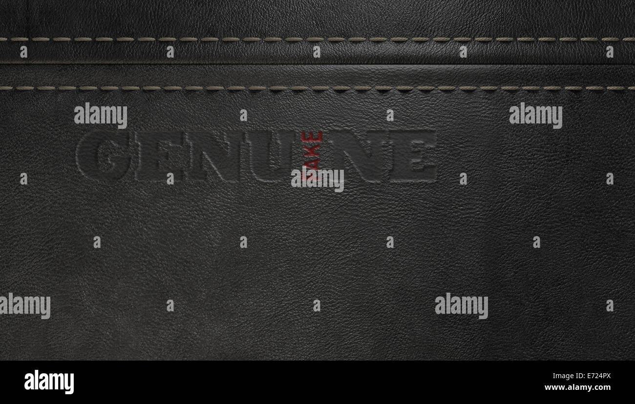 A concept image showing a regular stitched sheet of black leather with an embossed stamp reading genuine but the Stock Photo