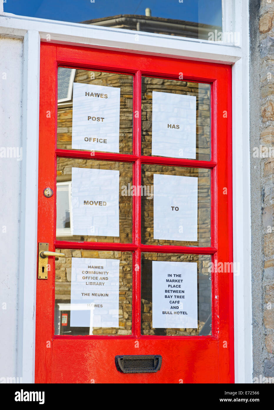 Post office, closed and moved, Hawes, Wensleydale, Yorkshire Dales National Park, North yorkshire, England UK - Stock Image