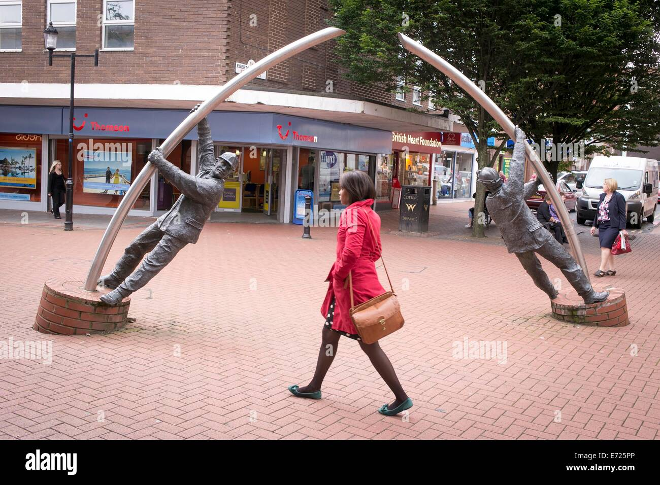The Arc Sculpture is located at the junction of Lord Street and Egerton Street in Wrexham North East Wales. Stock Photo