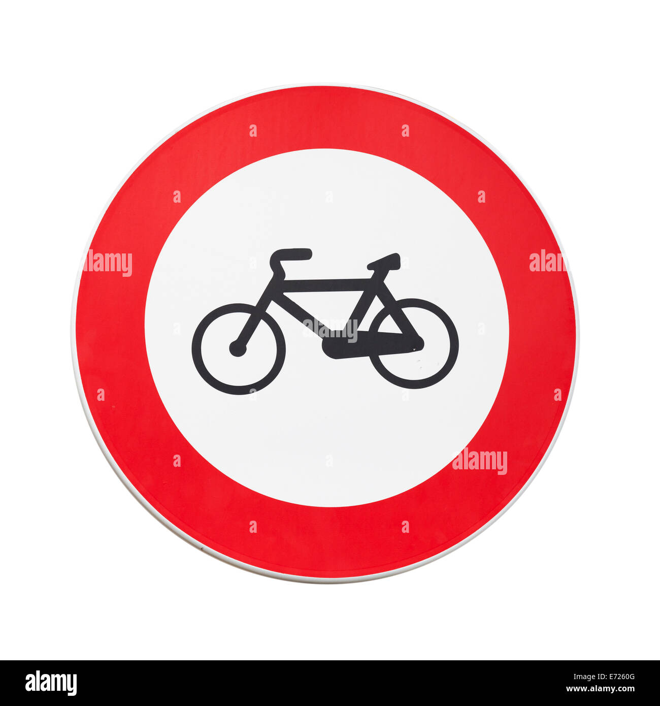 Bicycles traffic is prohibited, road sign isolated on white - Stock Image