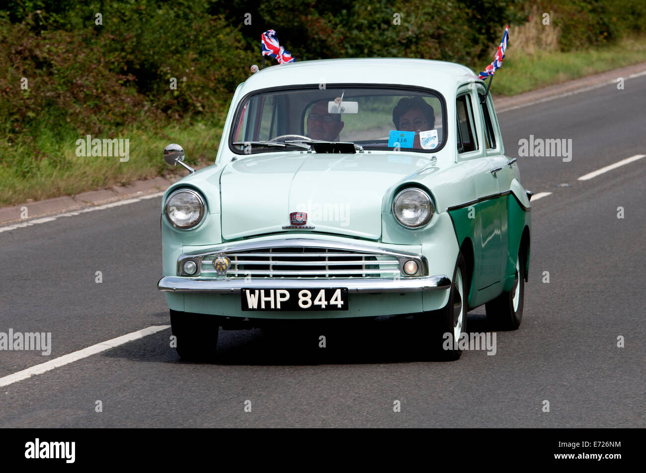 Standard Pennant car on the Fosse Way road, Warwickshire, UK - Stock Image