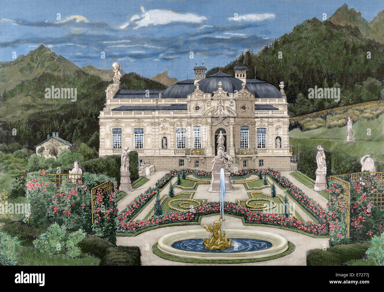 Ludwig II of Bavaria (1845-1886). King of Bavaria. Palace of Linderhof. Engraving. Colored. - Stock Image