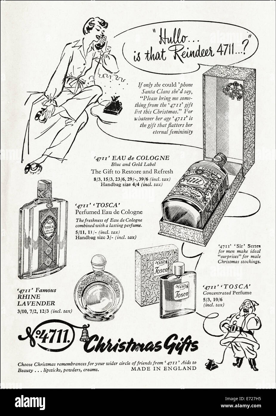 1940's advertisement for 4711 cosmetics by Maurer & Wirtz in English magazine dated November 1949 - Stock Image