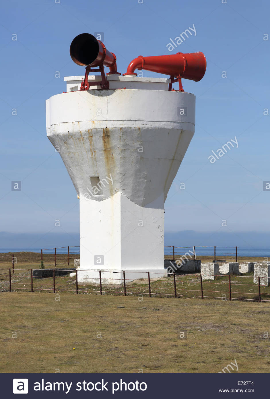 fog horn at point of ayre at the northern end of the Isle of Man - Stock Image