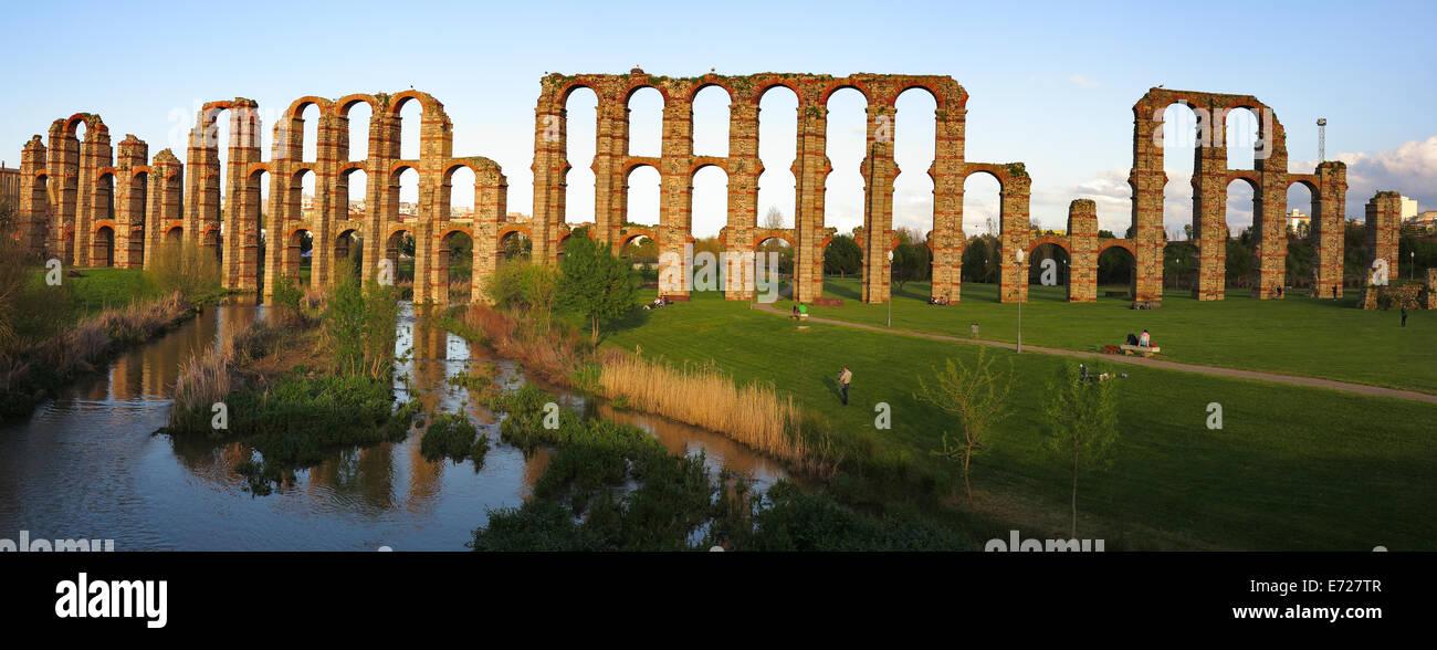 The Acueducto de los Milagros (English: Miraculous Aqueduct) is a ruined Roman aqueduct bridge, part of the aqueduct - Stock Image